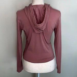 Heart & Hips Tops - Pink Mauve Hooded Crop Top
